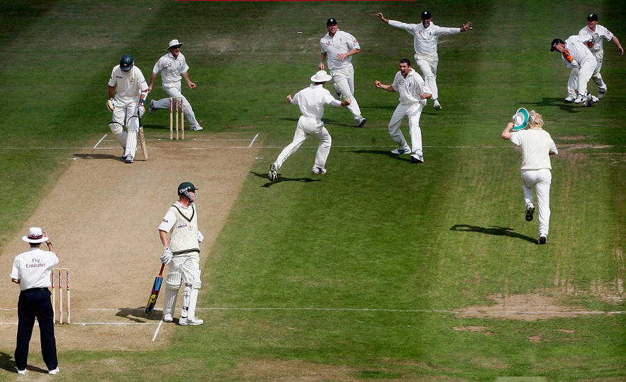 The England team celebrate their astonishing victory
