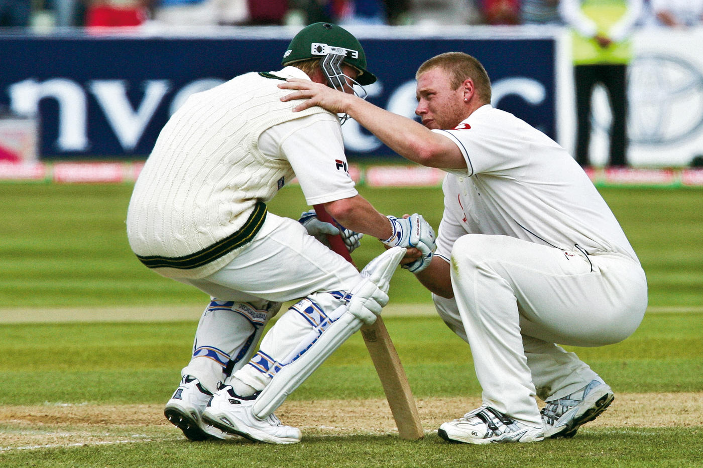 Andrew Flintoff immediately consoles Brett Lee, as England took the final wicket to win, on a nail-biting fourth day at Edgbaston, England v Australia, August 7, 2005