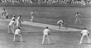Bill Woodfull ducks a ball from Harold Larwood in a classic image from the Bodyline series, 3rd Test, Adelaide, January 16, 1933