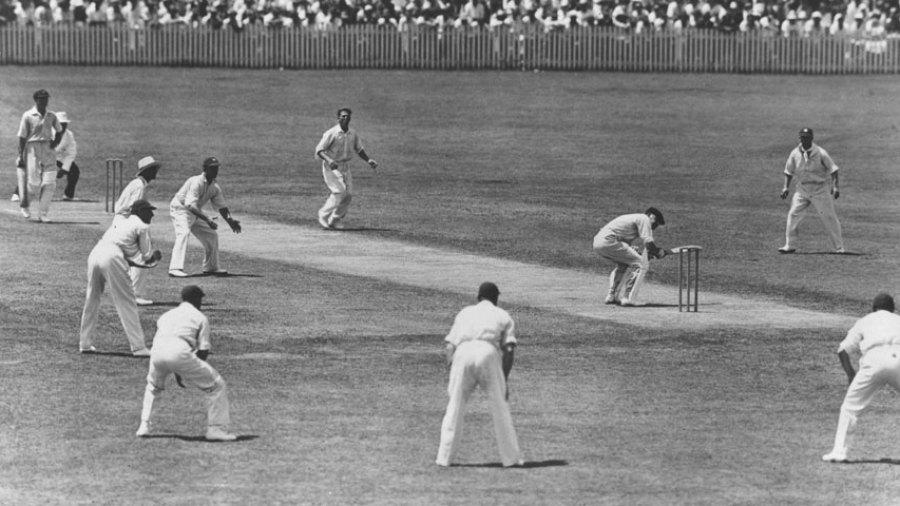 Bill Woodfull ducks a ball from Harold Larwood