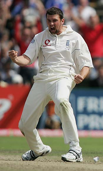 A delighted Steve Harmison celebrates Damien Martyn's wicket