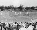 Play underway in the fifth Test between England and Australia at Melbourne, with Harry Trott bowling to Albert Ward, whose partner is his captain, AE Stoddart, March 2, 1895