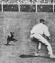 Clem Hill tries to catch an invading dog during the fourth Test at Melbourne, February 7, 1908