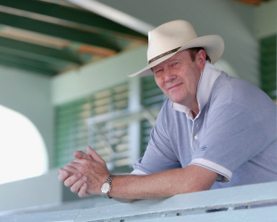 Tony Greig relaxes ahead of the Sabina Park Test, March 10, 2004