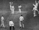 Jim Laker takes his tenth wicket as Jack Wilson is caught by Roy Swetman, Surrey v Australians, The Oval, May 16, 1956