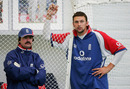 Little and large: Jack Russell and Steve Harmison during an indoor practice in the Indoor Academy at Loughbrough August 24, 2005