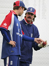 Geraint Jones receives some tips from Jack Russell in the Indoor Academy at Loughbrough, Trent Bridge, August 24, 2005