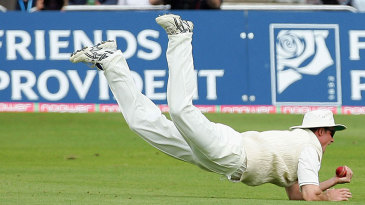 Andrew Strauss leaps to pull off a stunning catch to dismiss Adam Gilchrist