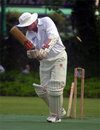 Crusaders' Ray Brewster is bowled during their match against Nomads in the 2003-04 season