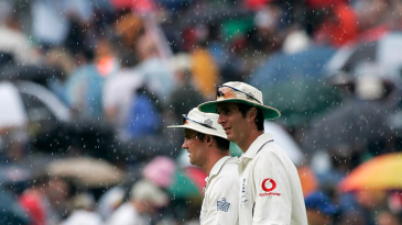 Michael Vaughan and Andrew Strauss troop off as rain interrupts