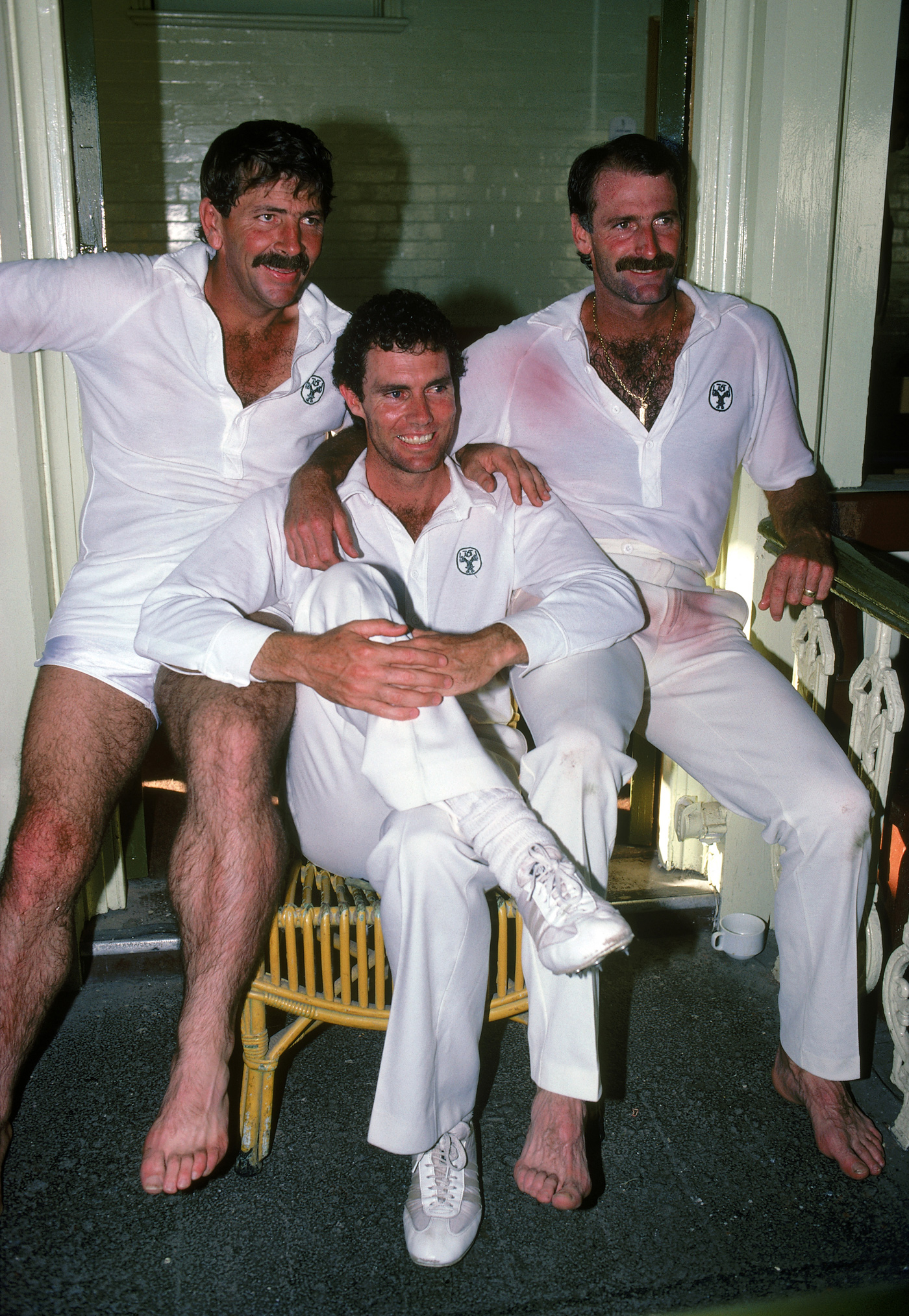 Lillee and Marsh (flanking Greg Chappell) liked a word out on the field.