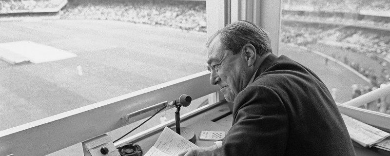 John Arlott during his last Test match for the BBC