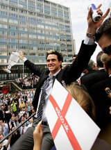 Kevin Pietersen leads the celebrations as tens of thousands turned out in London to fete the England team