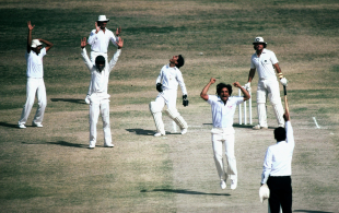 Abdul Qadir celebrates after he captures the vital wicket of Allan Lamb , Pakistan v England, Karachi, March 6, 1984