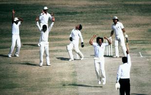 Abdul Qadir celebrates after he captures the vital wicket of Allan Lamb , Pakistan v England, Karachi, March 6, 1984
