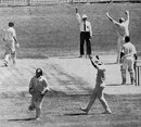 Ross Duncan caught by Bob Taylor for 0 off Tony Greig - Greig took 6 for 30 in Australia's first innings, Australia v World XI, Adelaide, February 1972