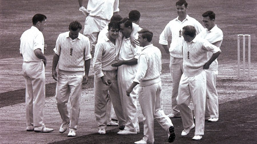 Fred Trueman is congratulated by Colin Cowdrey on taking his 300th Test wicket