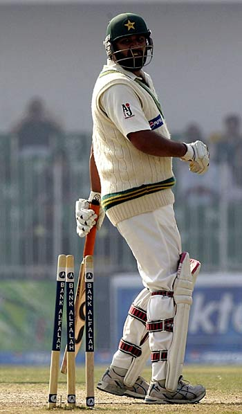 Inzamam looks at his spreadeagled stumps