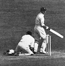 Len Hutton becomes the first man to be given out obstructed the field in a Test as Russell Endean scrambles for the ball, England v South Africa, 5th Test, The Oval, August 1951