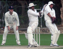 Rohan Boghani pulls the ball to leg during the Hancock Shield, whilst Mark Kratzmann and Mark Fuzes look on