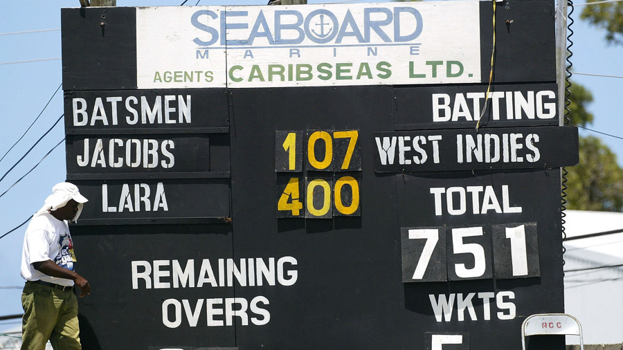 The scoreboard at Antigua, venue of Brian Lara's 400