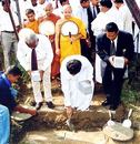 Jeevan Kumaranatunge laid the foundation stone for the Welagedara Cricket Stadium in Kurunegala, Sri Lanka, December 5, 2005