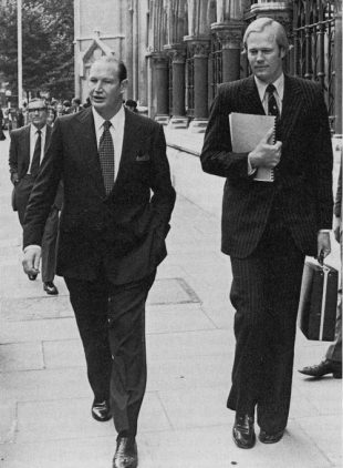 Kerry Packer and Tony Greig outside the High Court in London, October 1977