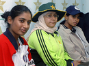 India's Mithali Raj, Pakistan's Sana Javed and Sri Lanka's Shsikala Siriwardene attend a press briefing for the Asia Cup, Karachi, December 27, 2005