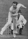 Doug Wright bowling against South Africa in 1947