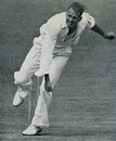 Lindsay Tuckett bowling against England at Trent Bridge, England v South Africa, Trent Bridge, June 10, 1947
