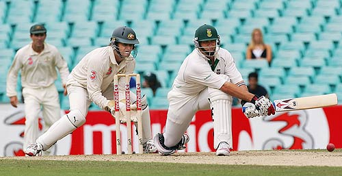 Jacques Kallis attempts to reverse sweep during his half-century