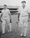 Peter Burge and Neil Hawke return to the pavilion, England v Australia, 3rd Test, Leeds, 1964