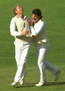 David Gower and Allan Lamb celebrate during the 1985 Ashes
