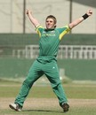 Simon Keen of Australia celebrates a wicket during his side's victory over Sri Lanka at the SSC in the Super League quarter-final of the ICC U/19 Cricket World Cup on Saturday