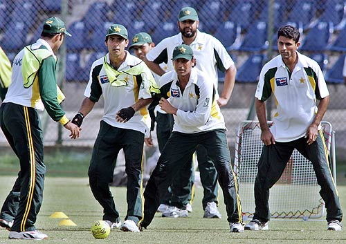 Pakistan players play soccer during a practice session at the National Stadium, Karachi, February 18 2006
