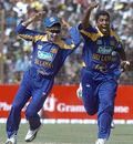 Dammika Prasad and Tillakaratne Dilshan celebrate as Bangladesh's top order is blown away, Bangladesh v Sri Lanka, 3rd ODI, Chittagong, February 25, 2006