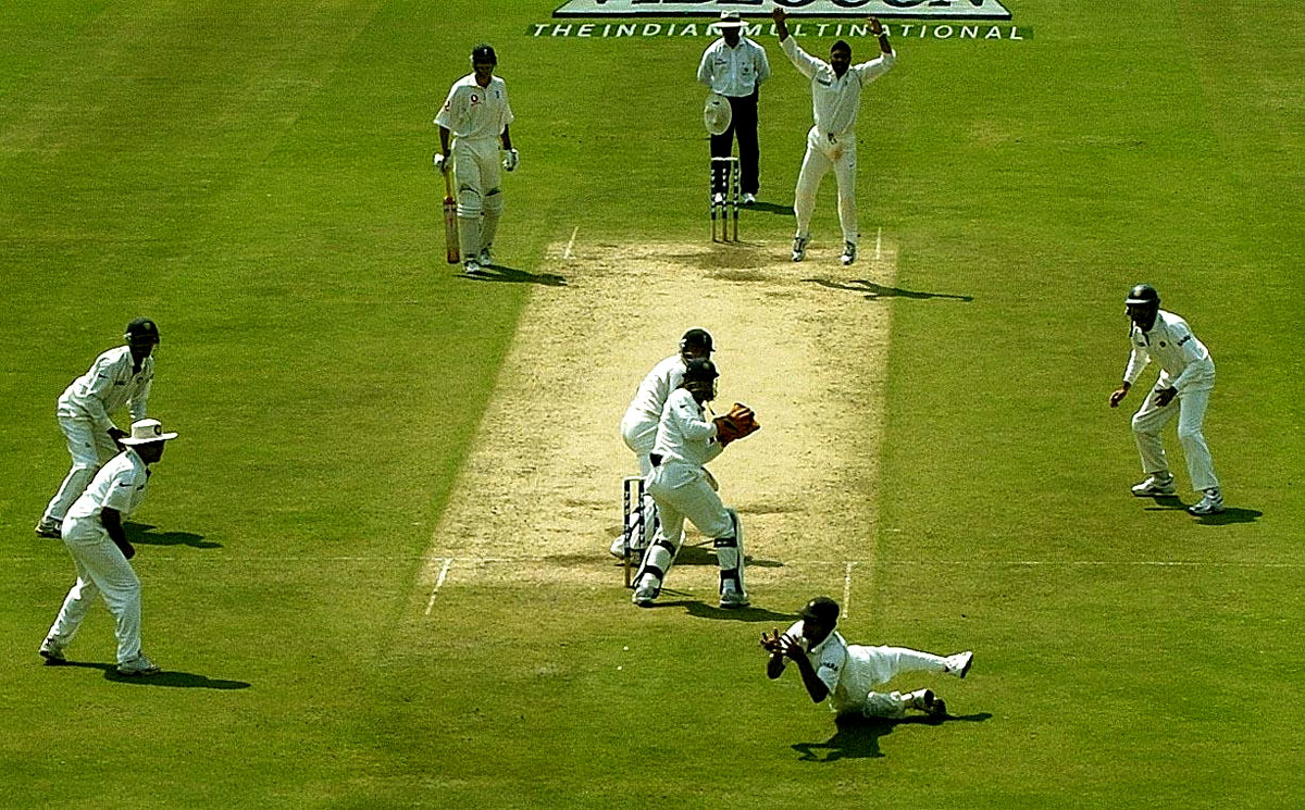 Golden hands: Dravid takes a catch to dismiss Ian Bell in Nagpur, 2006