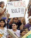 Sri Lanka fans celebrate victory, Bangladesh v Sri Lanka, 1st Test, Chittagong, 4th day, March 3 2006