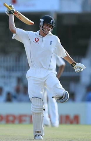 What a debut: Alastair Cook celebrates his century, which followed his first-innings 60 and continued a memorable first Test, India v England, 1st Test, Nagpur, March 4, 2006