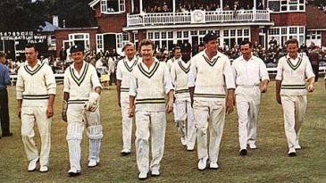 Colin Ingleby-Mackenzie leads Hampshire onto the field in their Championship-winning season