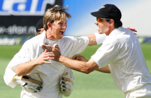 Shane Bond celebrates after bowling Brian Lara, New Zealand v West Indies, 1st Test, Auckland, 4th day, March 12, 2006