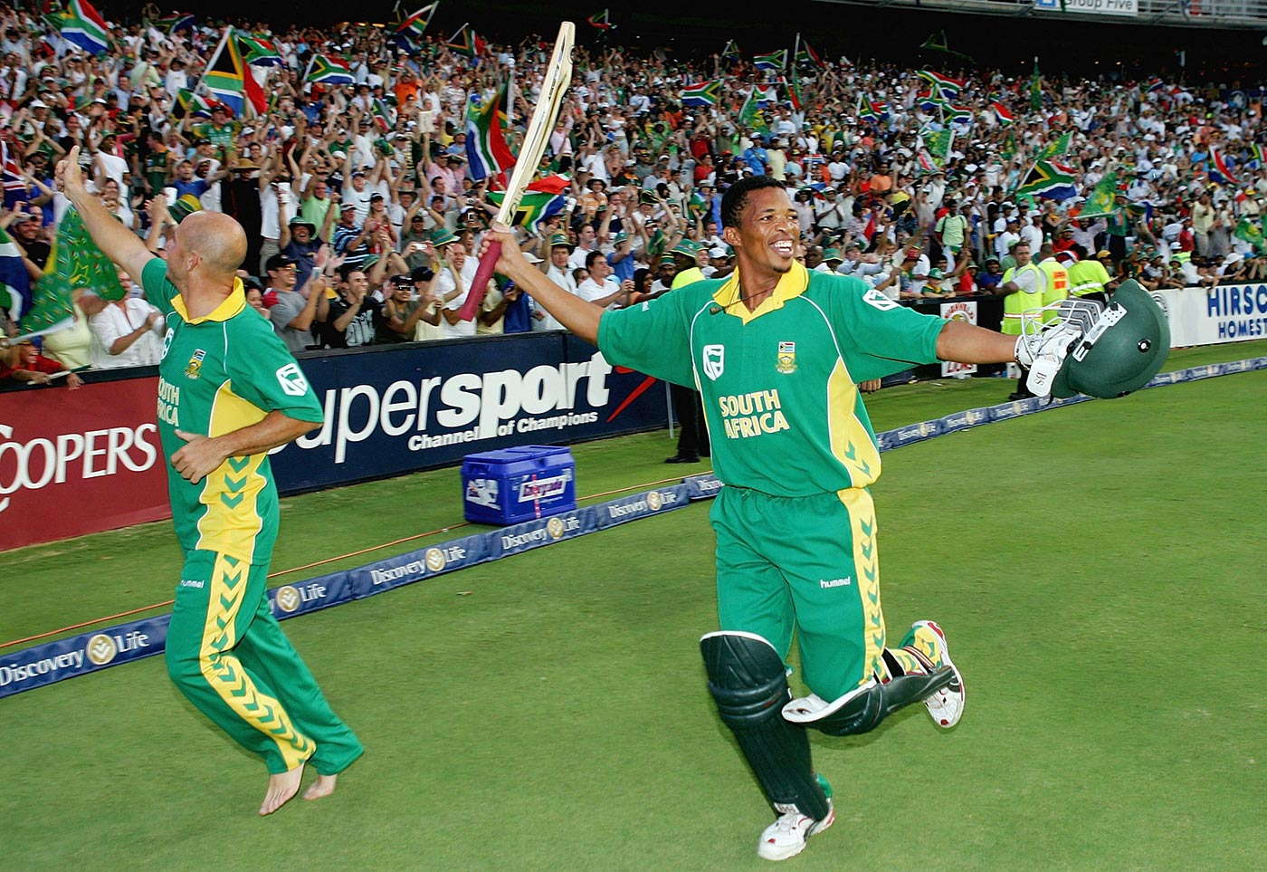 What, me worry? Makhaya Ntini does a victory lap after the 438 match