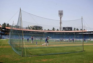 England players train at the Wankhede Stadium nets, Mumbai, March 17 2006