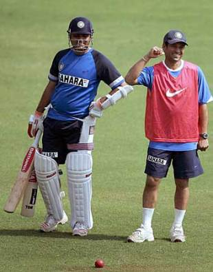 Virender Sehwag and Sachin Tendulkar share a joke in the nets, Wankhede Stadium, Mumbai, March 17 2006