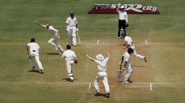 The big one: Shaun Udal removes Sachin Tendulkar