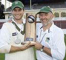 Jarrod Englefield and Graham Barlow of Central Districts hold the State Championship cricket trophy, Wellington v Central Districts, State Championship final, Basin Reserve,  April 7, 2006
