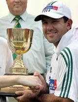 Ricky Ponting receives the winner's trophy after Australia completed a 3-0 whitewash at Fatullah © Getty Images