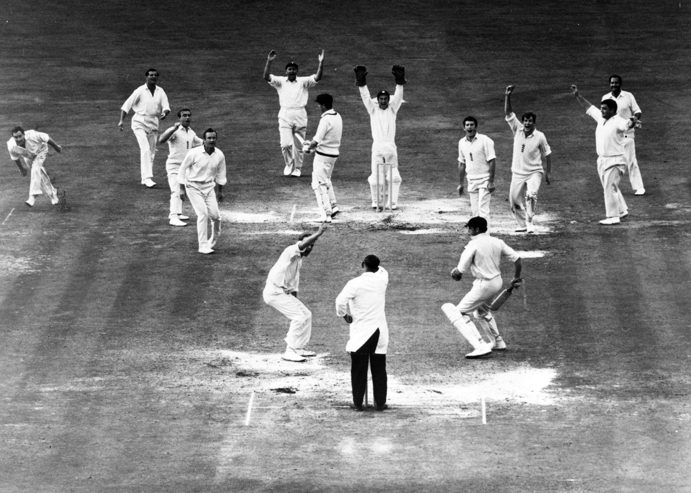 The Oval, 1968: Underwood gets the final wicket, John Inverarity, to win the Test and square the Ashes