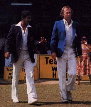 Bandula Warnapura and Keith Fletcher go out to toss, Sri Lanka v England, Inaugural Test, Colombo, February 17, 1982