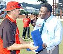 Piet Rinke collects his Man-of-the-Match award from Clive Lloyd, Canada v Zimbabwe, Tri-Nation ODI, Trinidad, May 16, 2006